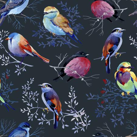 Seamless pattern of gouache birds on dark bakground. Big version of birds. Natural cliparts for wedding design, artistic creation. 写真素材