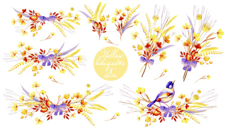 Yellow watercolor collection of bouquets. Natural cliparts for wedding design, artistic creation