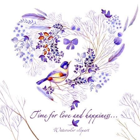 Lilac watercolor natural postcard. Natural cliparts for wedding design, artistic creation.