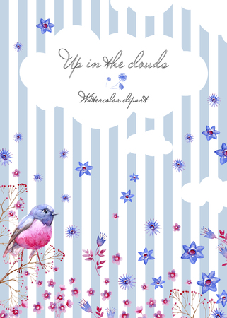 Nature postcard with a striped background and clouds. Summer cliparts for wedding design, artistic creation.