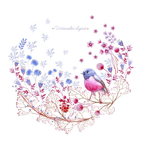 Nature rounded crimson and blue ornament . Cliparts for wedding design, artistic creation. 写真素材