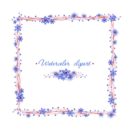 Floral square blue frame with brown branches. Cliparts for wedding design, artistic creation.