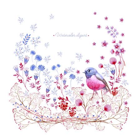 Nature square crimson and blue ornament . Cliparts for wedding design, artistic creation.