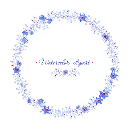 Floral rounded blue wreath. Cliparts for wedding design, artistic creation. Reklamní fotografie