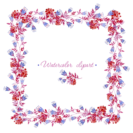Floral square blue, pink and red frame. Cliparts for wedding design, artistic creation.