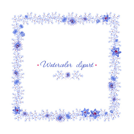 Floral square blue frame. Cliparts for wedding design, artistic creation. Reklamní fotografie