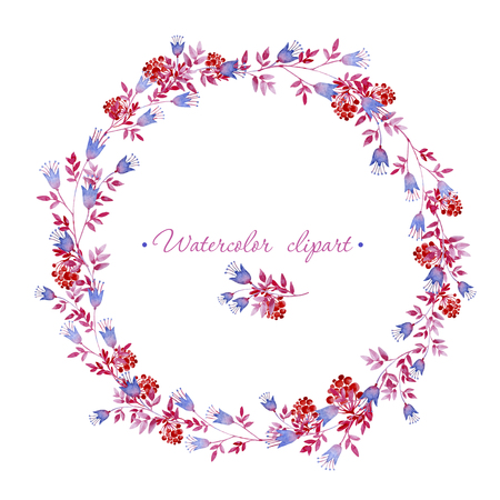 Floral rounded blue, pink and red wreath. Cliparts for wedding design, artistic creation. 写真素材