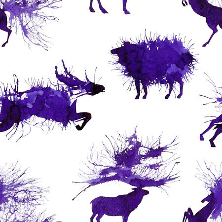 Hoofed animals. Deer, wild bull, sheep and horse. Natural cliparts.