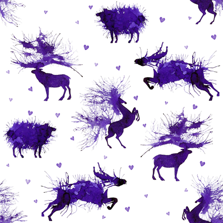 Hoofed animals. Deer, wild bull, sheep and horse on the background with hearts. Third version. Natural cliparts.