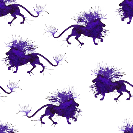 Seamless with wild lion. Natural cliparts for wedding design, artistic creation.