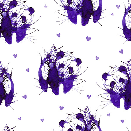 Seamless with wild panda on the background with hearts. Natural cliparts for wedding design, artistic creation. 写真素材