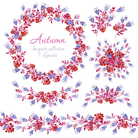 Floral autumn blue, pink and red bouquets with bunches of Rowan. Cliparts for wedding design, artistic creation.