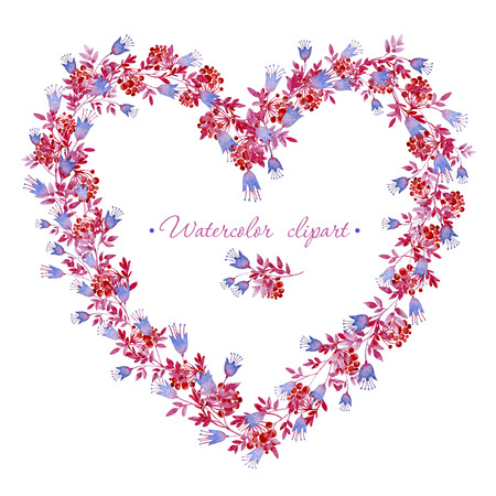 Floral blue, pink and red wreath heart shaped. Cliparts for wedding design, artistic creation.