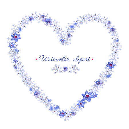 Floral blue wreath heart shaped. Cliparts for wedding design, artistic creation. 写真素材