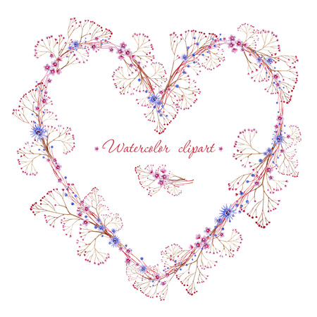 Floral blue and pink wreath with branches heart shaped. Cliparts for wedding design, artistic creation.
