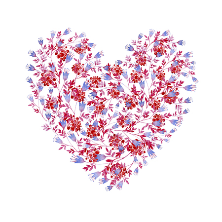 Floral blue, pink and red heart shaped. Cliparts for wedding design, artistic creation. 写真素材