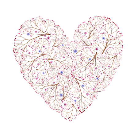 Natural brown branches heart shaped with flowers. Cliparts for wedding design, artistic creation. 写真素材