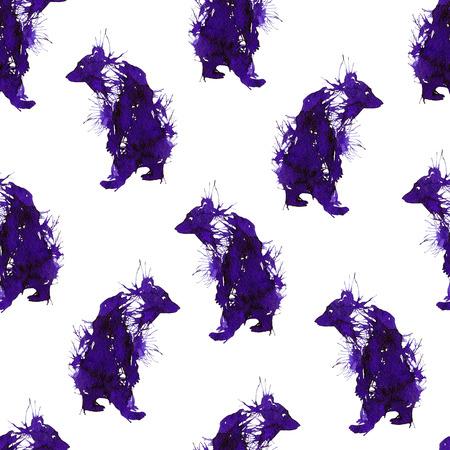 Ink violet wild bears. Seamless texture 写真素材
