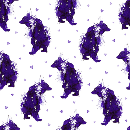 Ink violet wild bears on the background with hearts. Seamless texture