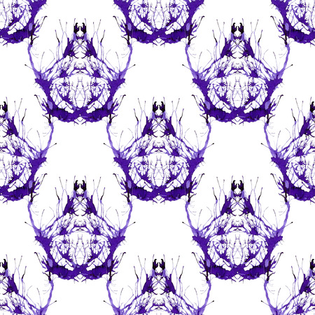 Seamless violet ornament of branches. Ornament 2 - large pattern with fantastic animal.