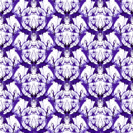Seamless violet ornament of branches. Ornament 3 - dense pattern with fantastic animal. 写真素材