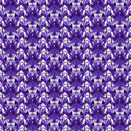 Seamless violet ornament of branches. Ornament 4 - dense knitting flouers. 写真素材