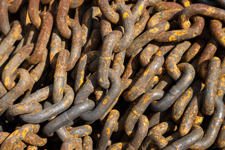 coherence: Old rust metal chain heap texture industrial abstract background Stock Photo