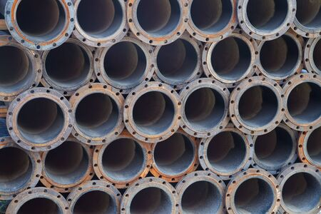 steel texture: Stacked steel pipe bundle in industrial stockyard texture background