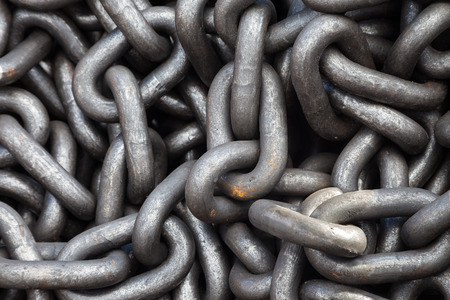 discarded: Metal rust chain heap texture industrial abstract background Stock Photo