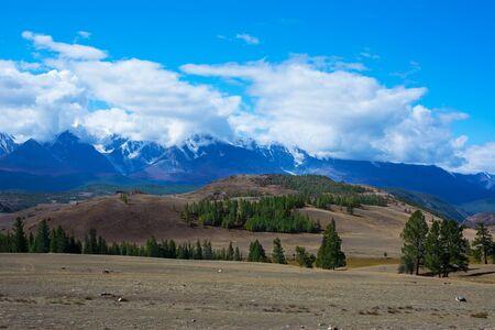 aktru: Horizontal vew of the glacier in the snow-capped peaks. Aktru glacier Altay mountains, Chuya Alps, Siberia, Russia