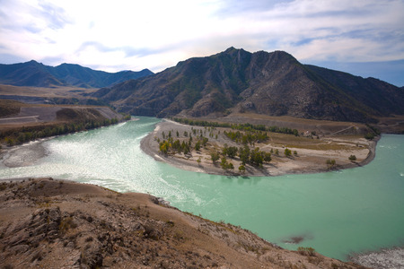 confluence: View of the confluence of the Chuya and Katun rivers, Katun valley, Altai Mountains, Russia