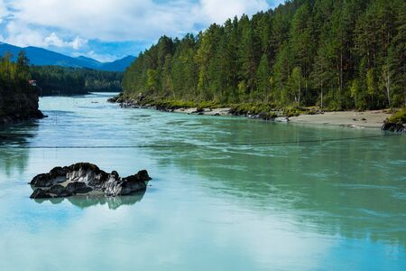 katun: Turquoise river flowing in the distance, Katun river, Altai Mountains, Russia