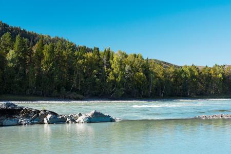 katun: Big stones in the turquoise river, Katun river, Altai Mountains, Russia