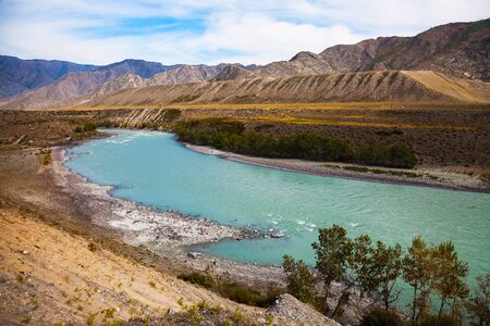 katun: Top view on the beautiful turquoise river flowing between the rocks, Katun river valley, Altai Mountains, Russia