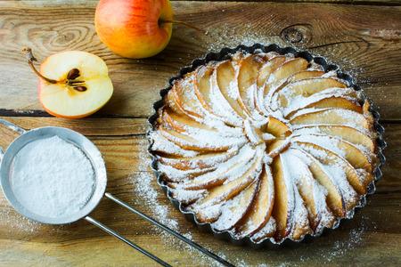 american dessert: American apple pie, fruit dessert, tart selective focus, top view