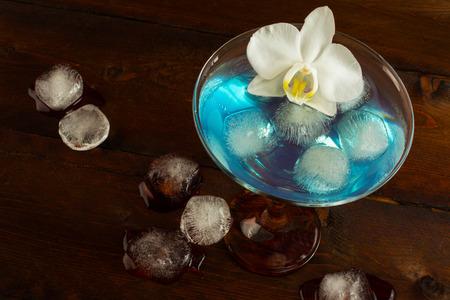 blue hawaiian drink: Blue Margarita cocktail top view. Blue cocktail. Blue Martini. Blue Hawaiian cocktail