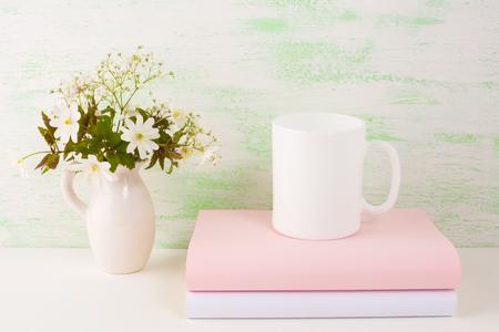 Mug mockup with fresh flowers. Mug mockup. Coffee cup template. Coffee mug template. Mug template. Mug design template. Mug design. Mug printing design. White mug mockup. Cup mockup. Blank mug.
