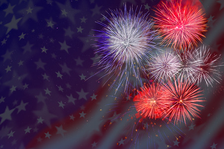 american flag fireworks: Celebration fireworks over American flag background. 4th of July beautiful fireworks. Independence Day holidays salute. Stock Photo