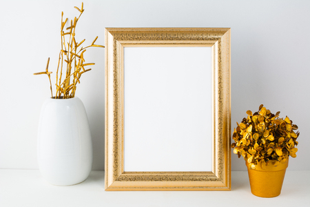 Gold Fame Mockup With White Vase And Golden Flowerpot Empty Stock