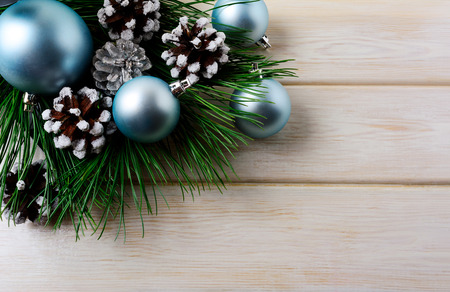 Christmas Background With Blue Ornaments And Snowy Pinecone Party Decoration Shiny Balls