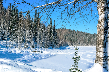 ski run: Beautiful winter landscape with ski run on frozen lake. Cold day in the winter forest