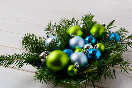 christmas table centerpiece with silver blue and green ornaments christmas party decoration with shiny - Decorated Christmas Tables Parties
