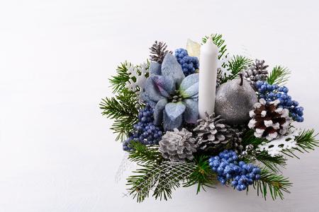 Fondo De Navidad Con Decoración De Brillo De Plata Y Flores