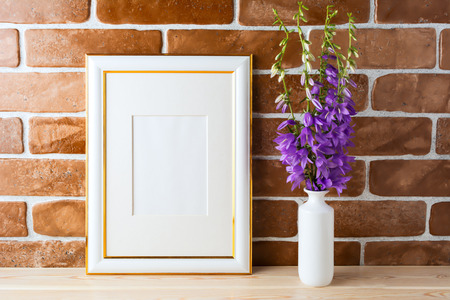 Gold Decorated Frame Mockup With Wildflowers Bouquet In Styled ...