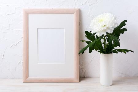 Wooden Frame Mockup With White Chrysanthemum In Vase Empty Frame