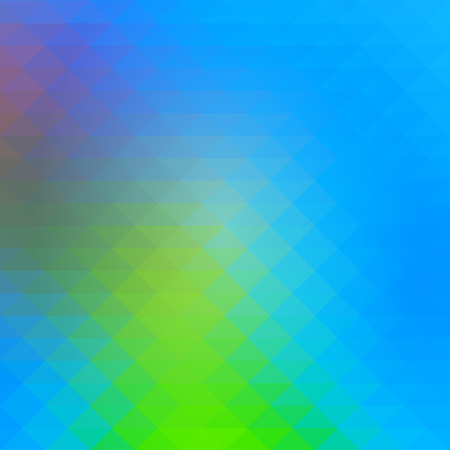 Blue green red abstract geometric background with rows of triangles, square