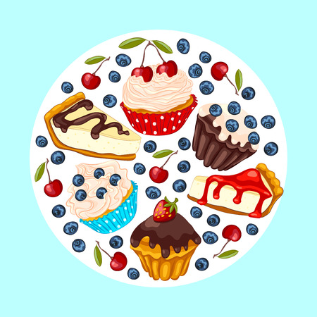 Cupcake, muffin, cheesecake with fresh berry isolated on white. Set of vector sweet dessert. Birthday greeting card or invitation template.