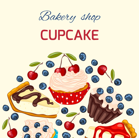 Cupcake with whipped cream, muffin and cheesecake. Vector birthday greeting card or invitation template. Copy space.