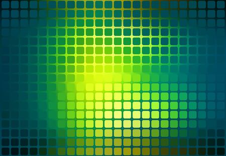 pixelated: Bright yellow green vector abstract rounded corners square tiles mosaic over blurred background Illustration