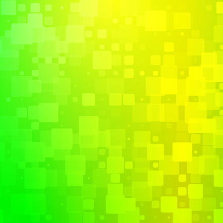 Yellow golden green shades vector abstract glowing background with random sizes rounded tiles square